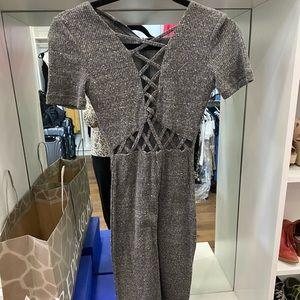 LF gray sweater dress with cutouts
